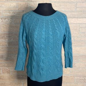 Ann Taylor Blue 100% Cashmere Sweater Cropped Slee